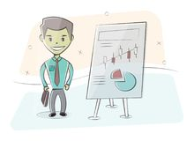 Businessman and graphs on white board. Presentation concept, seminar, training, conference. Character man in cartoon Royalty Free Stock Image