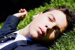Businessman on the grass Royalty Free Stock Images