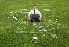 Businessman on grass with business sketch. Businessman with laptop sitting on grass with abstract business sketch Royalty Free Stock Photo