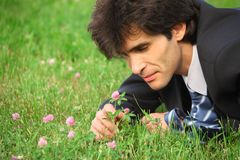 Businessman on grass looks at clover flower Royalty Free Stock Photos