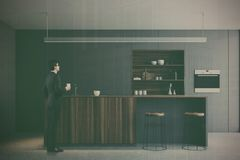 Gray kitchen, wooden bar stand toned Stock Image