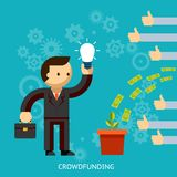 Businessman with a great idea being crowd funded Royalty Free Stock Image