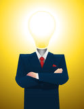 Businessman great idea lightbulb inspiration moment Stock Image