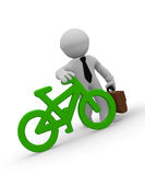 Businessman with green bike icon, 3d rendering Stock Photography