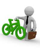 Businessman with a green bike icon, 3d rendering Stock Photo