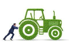 The businessman with green ecological vehicle. Businessman with green ecological vehicle royalty free stock photos