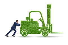 The businessman with green ecological vehicle. Businessman with green ecological vehicle stock photo