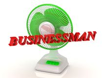 BUSINESSMAN- Green Fan and bright color letters Stock Image