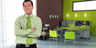 Businessman and green office Stock Photography
