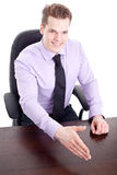 Businessman greeting on white background Royalty Free Stock Images