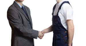 Businessman greets a worker Royalty Free Stock Photography