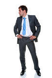 Businessman grey pinstripe suit isolated Stock Photo