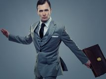 Businessman in grey suit with a briefcase Stock Photos