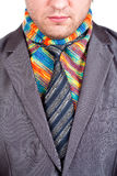 Businessman in grey suit and colorful scarf Stock Image