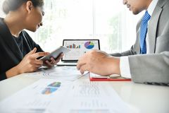 Businessman meeting with Businesswoman. Stock Photos