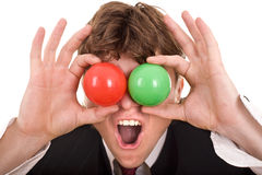 Businessman with  group ball. Royalty Free Stock Images