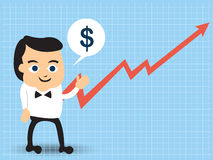Businessman beside a growing chart. Stock Image