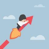 Businessman on growing graph, success concept Stock Photos