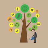 Businessman growing tree of idea Royalty Free Stock Images
