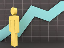 Businessman and Growth Chart Royalty Free Stock Image