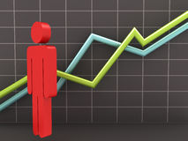 Businessman and Growth Chart Stock Photos
