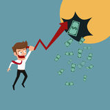 Businessman growth graph make benefit and get money. Stock Photo