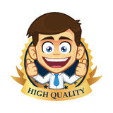 Businessman with guarantee icon. Clipart picture of a businessman cartoon character with guarantee icon Royalty Free Stock Photography