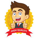 Businessman with Guarantee Icon. Clipart Picture of a Male Businessman Cartoon Character with Guarantee Icon Stock Image