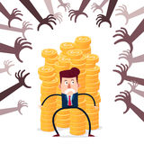Businessman guarding stack of gold coins from various financial threat Royalty Free Stock Images