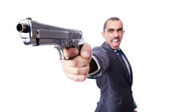Businessman with gun Stock Photography