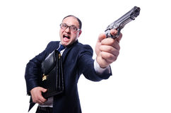 Businessman with gun Stock Photography