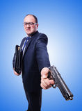 Businessman with gun isolated on white Royalty Free Stock Image
