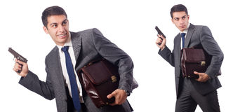 The businessman with gun isolated on white Stock Images