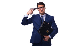 The businessman with gun isolated on white Royalty Free Stock Photography
