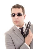 Businessman with gun isolated on white Royalty Free Stock Photos