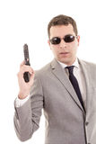 Businessman with gun isolated on white Royalty Free Stock Photo