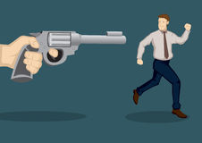 Businessman At Gunpoint Cartoon Vector Illustration Royalty Free Stock Photo