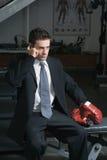 Businessman, Gym, Cellphone Stock Image