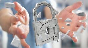 Businessman hacking in broken padlock security 3D rendering. Businessman on blurred background hacking in broken padlock security 3D rendering Stock Photos