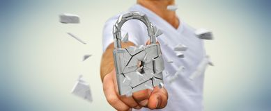 Businessman hacking in broken padlock security 3D rendering. Businessman on blurred background hacking in broken padlock security 3D rendering Stock Photo