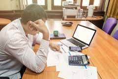 A businessman had depression and sadness. In meeting room Stock Images