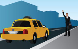 Businessman hailing a tax cab. Vector illustration of a successful businessman hailing a yellow taxi cab Royalty Free Stock Photos