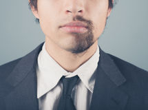 Businessman with half shaved beard Stock Image