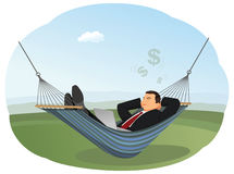 Businessman in hammock Stock Photo