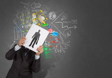 Businessman hand with book choosing people. Icon as human resources concept Stock Image