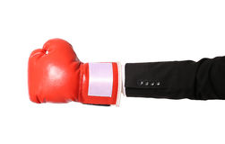 Businessman hand with boxing glove isolated Stock Photography