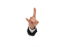 Businessman hand breaking through paper wall Royalty Free Stock Images