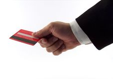 Businessman hand with card. Businessman offering card Stock Image