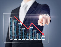 Businessman hand with chart on virtual screen Royalty Free Stock Photo