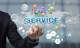 Businessman hand chooses Service wording on interface screen. Royalty Free Stock Photos
